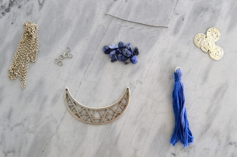 Picture Of long diy boho tassel moon necklace  2