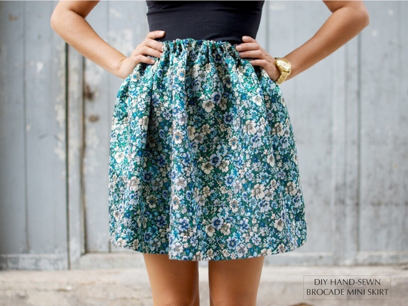 Picture Of lovely diy hand sewn brocade mini skirt for summer  1