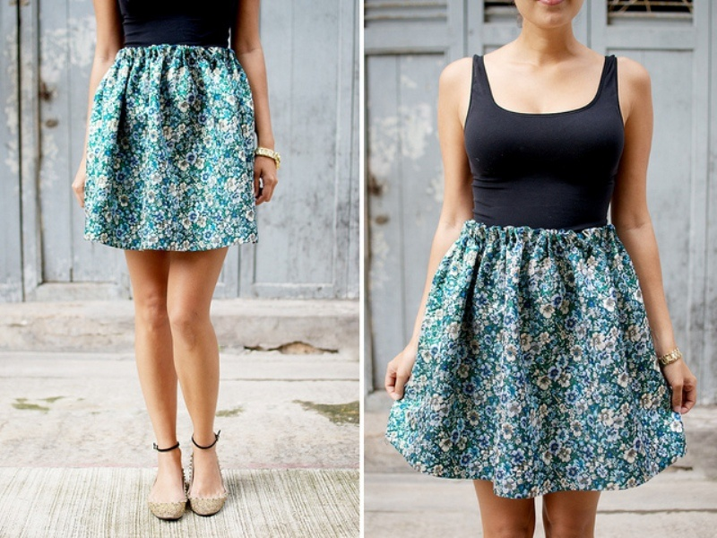 Picture Of lovely diy hand sewn brocade mini skirt for summer  10