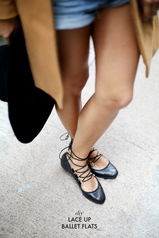 Picture Of lovely diy lace up ballet flats  1