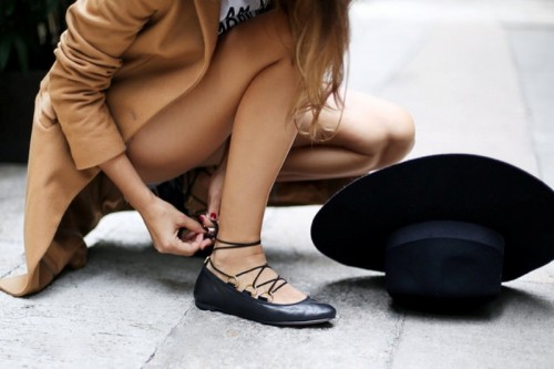 Lovely DIY Lace Up Ballet Flats