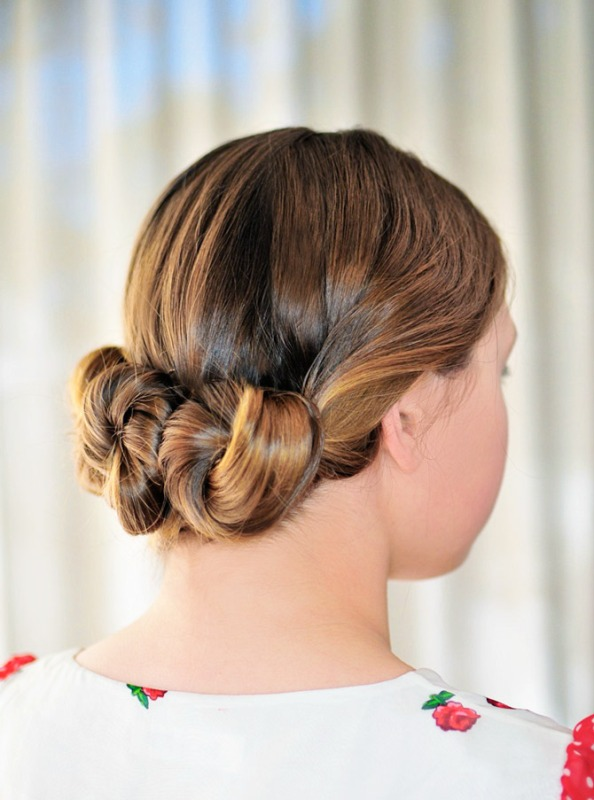 Picture Of lovely diy three bun hairstyle  1
