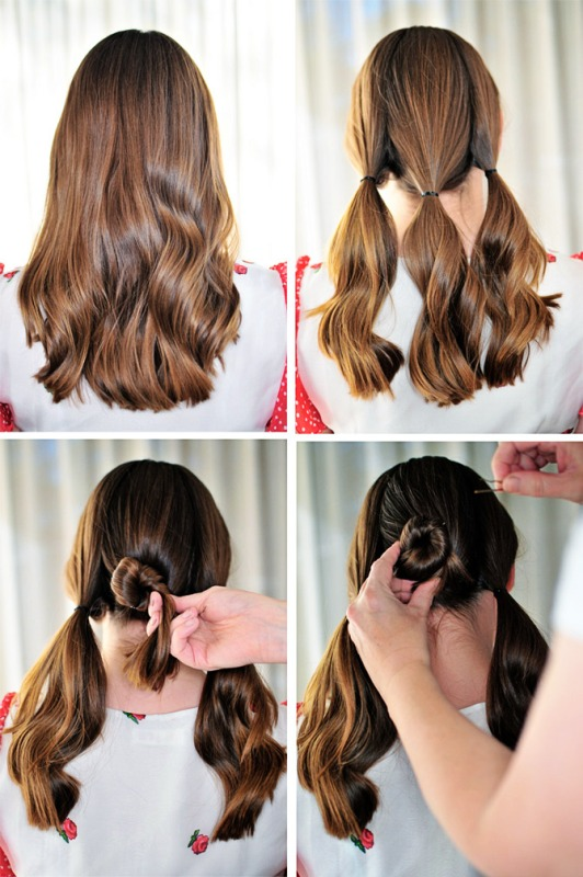 Picture Of lovely diy three bun hairstyle  2