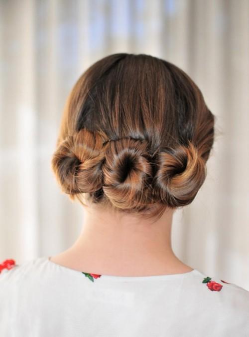 Lovely DIY Three Bun Hairstyle