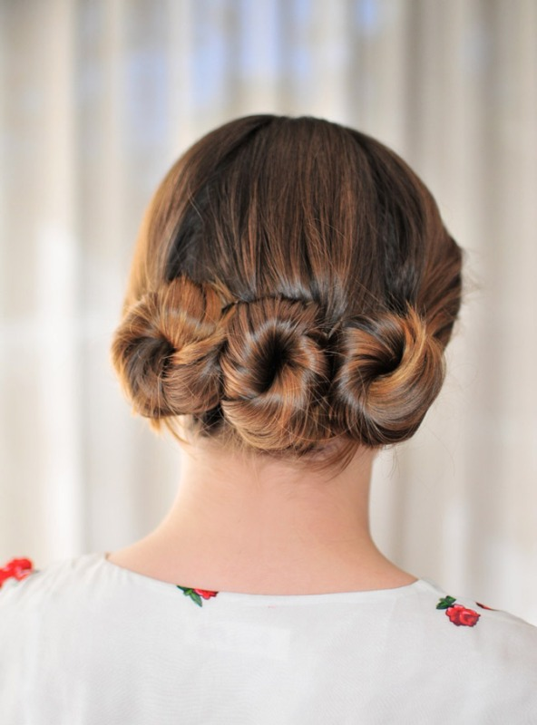 Picture Of lovely diy three bun hairstyle  3