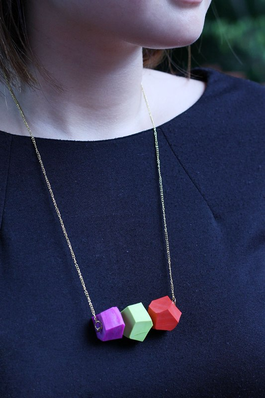 Picture Of modern diy geometric necklace  1