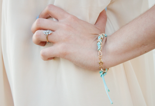 Nautical DIY Threaded Chain Bracelet