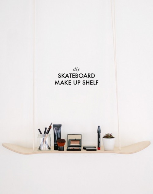 Original DIY Skateboard Makeup Shelf