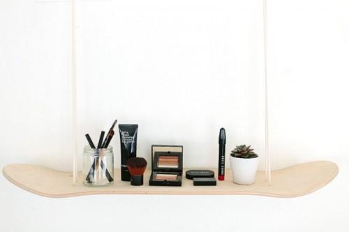 Original DIY Skateboard Makeup Shelf