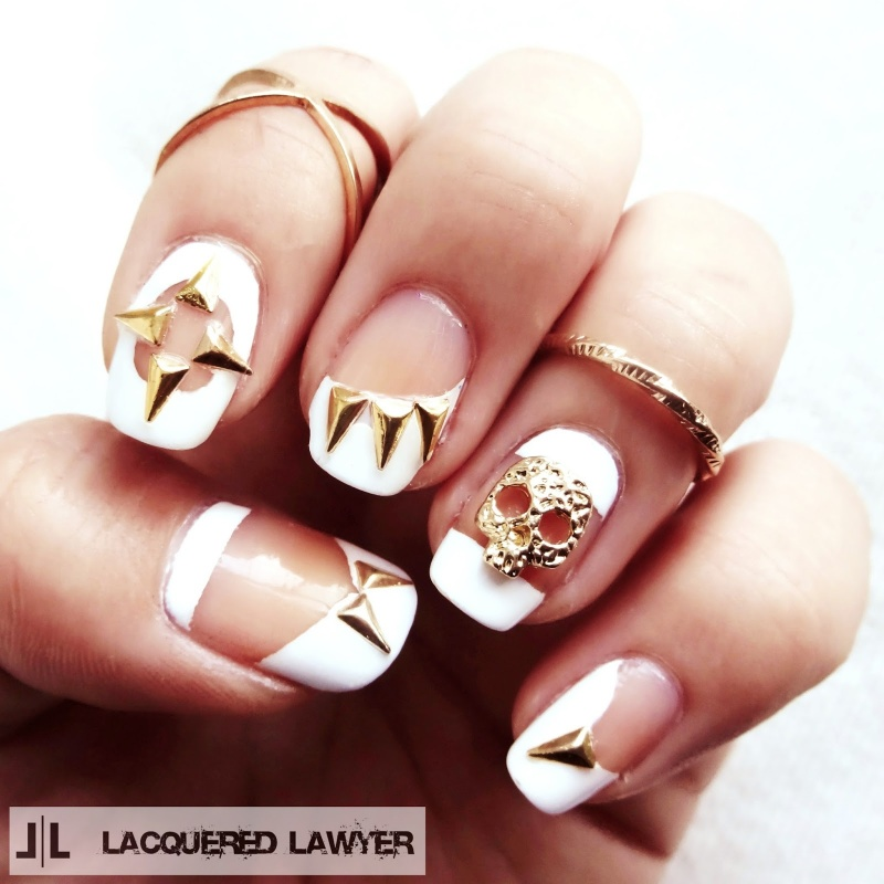 Picture Of original diy skulls and spikes nail art  1