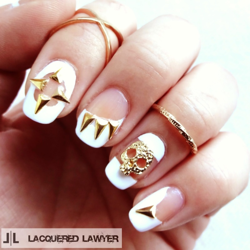 Picture Of original diy skulls and spikes nail art  4