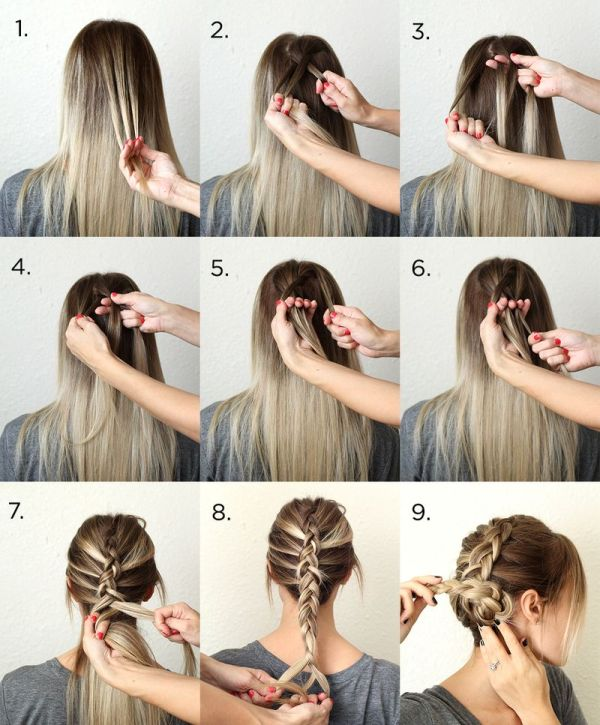 Picture Of pretty and easy diy dutch aka inside out french braid  2