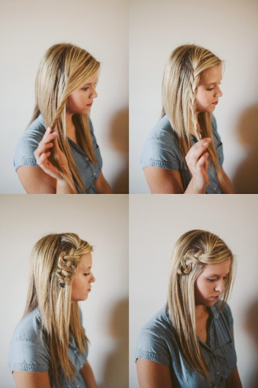 Picture Of pretty and easy diy scrunched braid hairdo  2