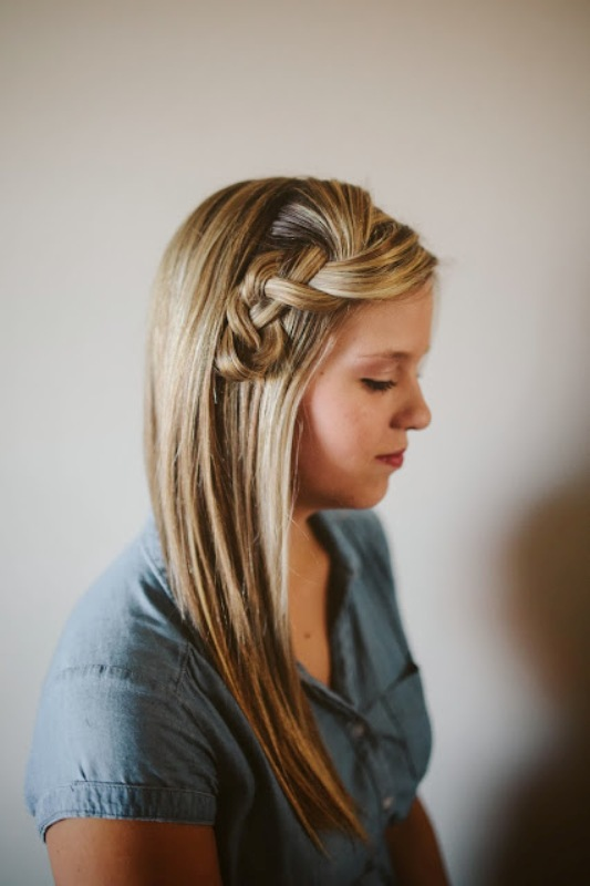 Picture Of pretty and easy diy scrunched braid hairdo  4