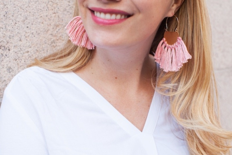 Picture Of pretty and fun diy brass fringe earrings to make  3
