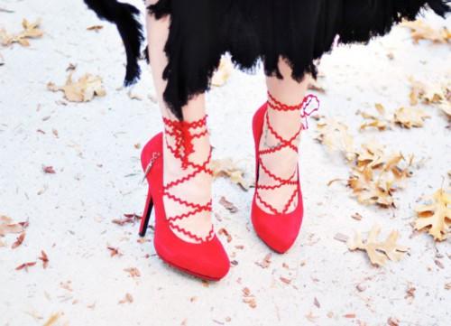 Pretty DIY Lace Up Heels