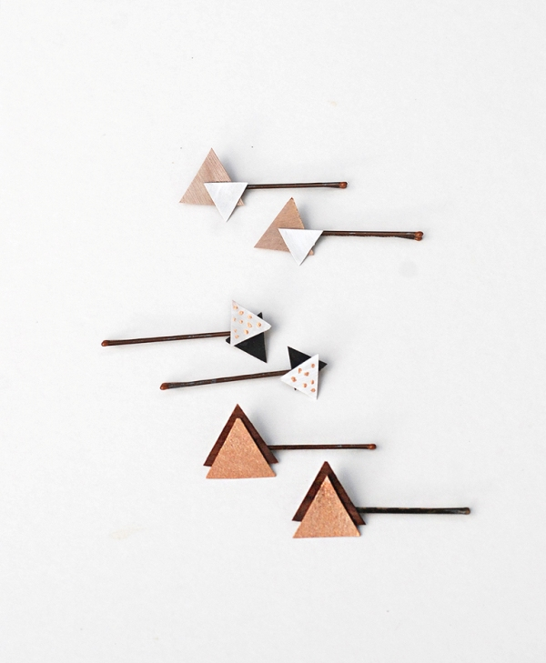 Picture Of pretty diy wooden triangle hair pins  1