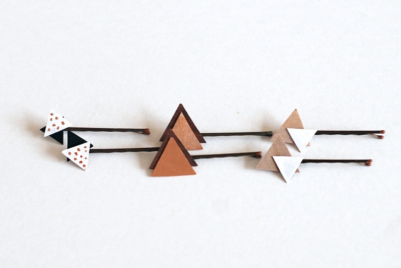 Picture Of pretty diy wooden triangle hair pins  2