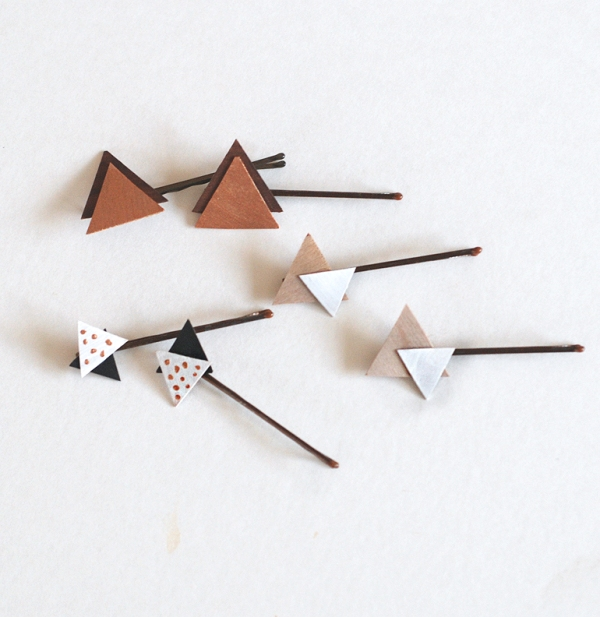 Picture Of pretty diy wooden triangle hair pins  4