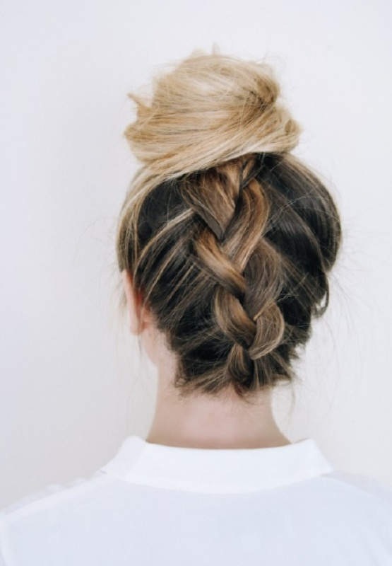 Picture Of quick diy messy braided bun  1