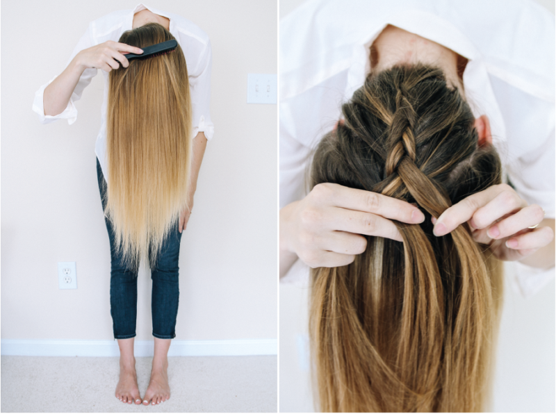 Picture Of quick diy messy braided bun  2