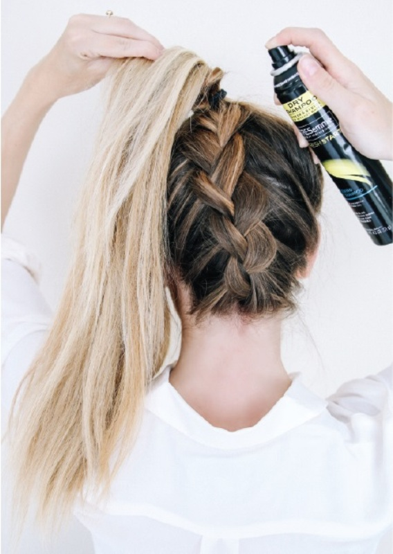 Picture Of quick diy messy braided bun  3