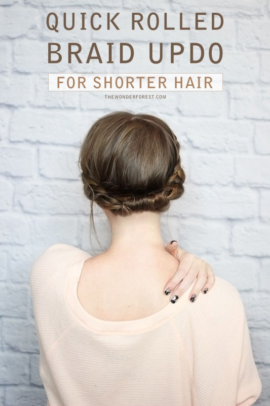 Picture Of quick diy rolled braid updo for short hair  1