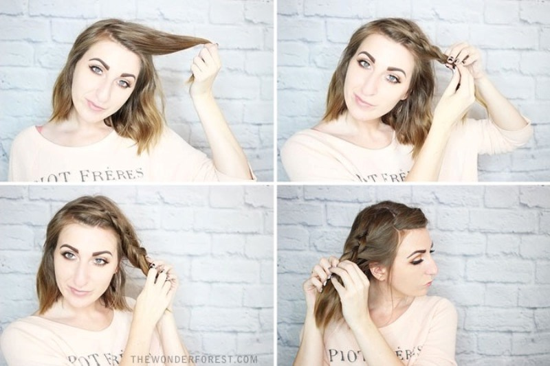 Quick DIY Rolled Braid Updo For Short Hair - Styleoholic