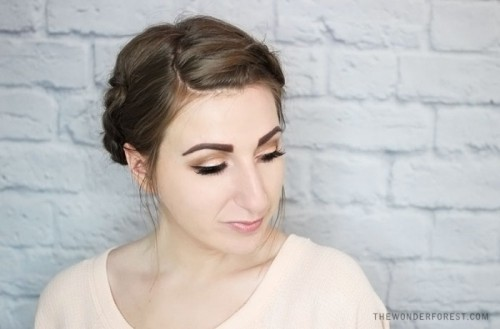 Quick DIY Rolled Braid Updo For Short Hair