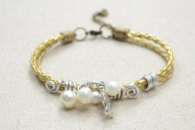 Picture Of refined diy leather cord bracelet with pearls  4
