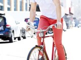 a blue striped short sleeve shirt, red pants, navy sneakers will compose a colorful summer look