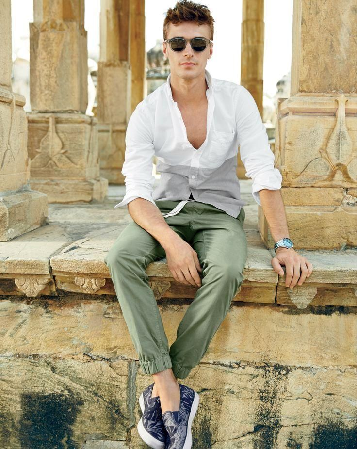a white long sleeve shirt, khaki pants, printed slipons will make you look nice and relaxed