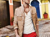 a white tee, red pants, a tan leather jacket for a cool summer to fall look during your vacation