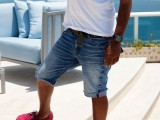 a white tee, denim shorts, red sneakers are a classic and simple summer holiday look