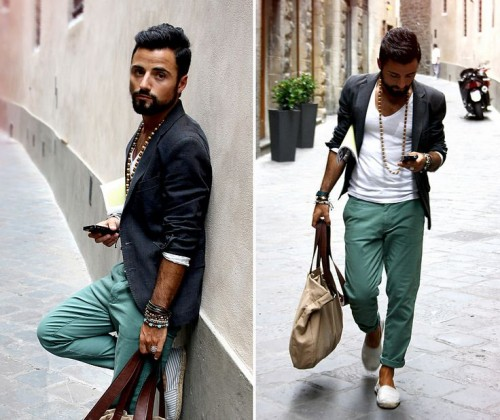 a white top, grene pants, a black blazer and neutral espadrilles for a stylish layered summer look