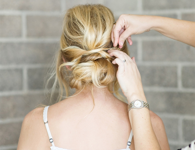 Picture Of romantic and easy diy low bun with crisscross  8