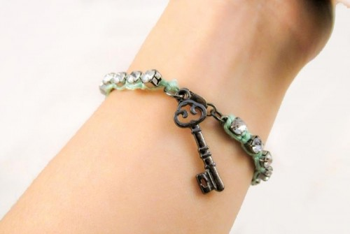 Romantic DIY Rhinestone Wrapped Charm Bracelet