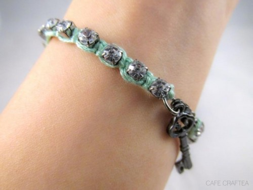Romantic DIY Rhinestone Wrapped Charm Bracelet