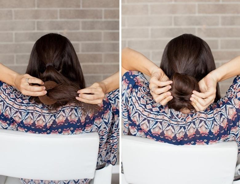 Picture Of romantic diy sock bun hairstyle  3