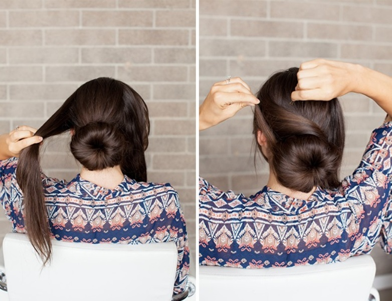 Picture Of romantic diy sock bun hairstyle  5