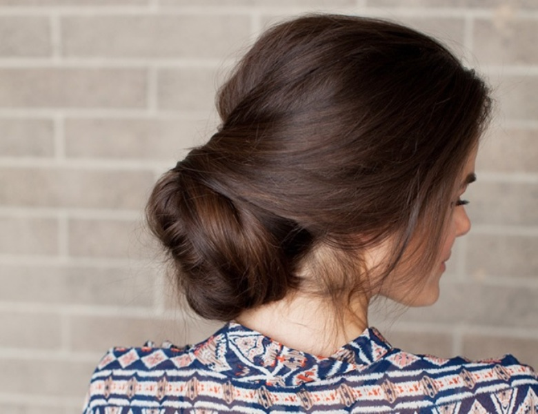 Picture Of romantic diy sock bun hairstyle  7