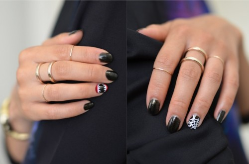 Halloween accent nails (via stylestories)