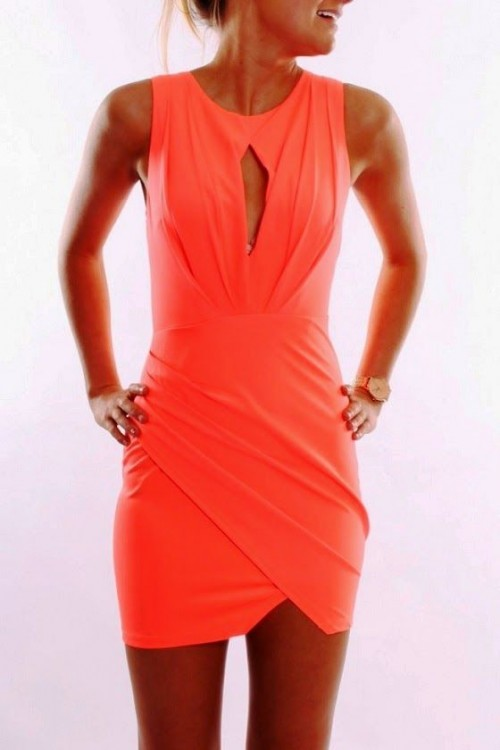a sleeveless draped coral mini dress with a cutout and no sleeves is a nice idea for a summer party