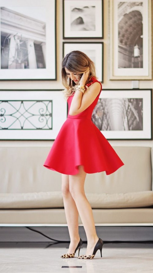 a red mini dress with a flare skirt and leopard shoes for a formal date or some other event