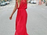 a red a-line sleeveless maxi dress is always a good idea to make a statement