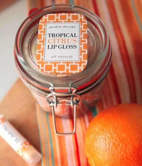 Shiny All-Natural DIY Tropical Citrus Lip Gloss