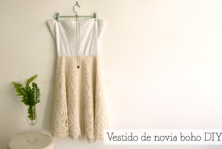 Picture Of short diy boho chic weddign dress  1