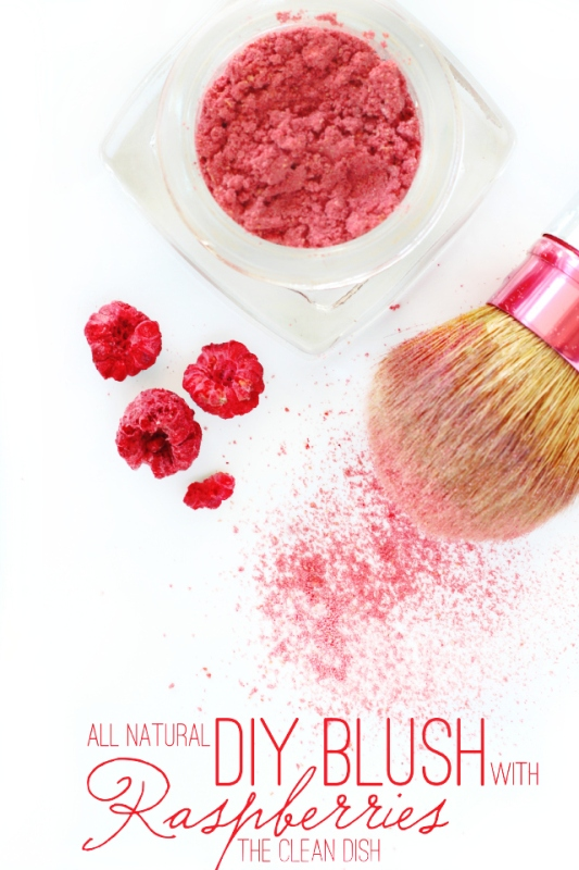 Picture Of simple and all natural diy blush with dried raspberries  2
