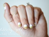 simple-and-pretty-diy-glittery-gold-and-white-manicure-1