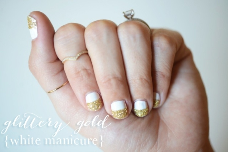 Picture Of simple and pretty diy glittery gold and white manicure  1